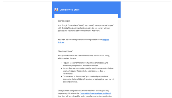 "Deal with ""Chrome Web Store: Removal notification"" and REJECTED"